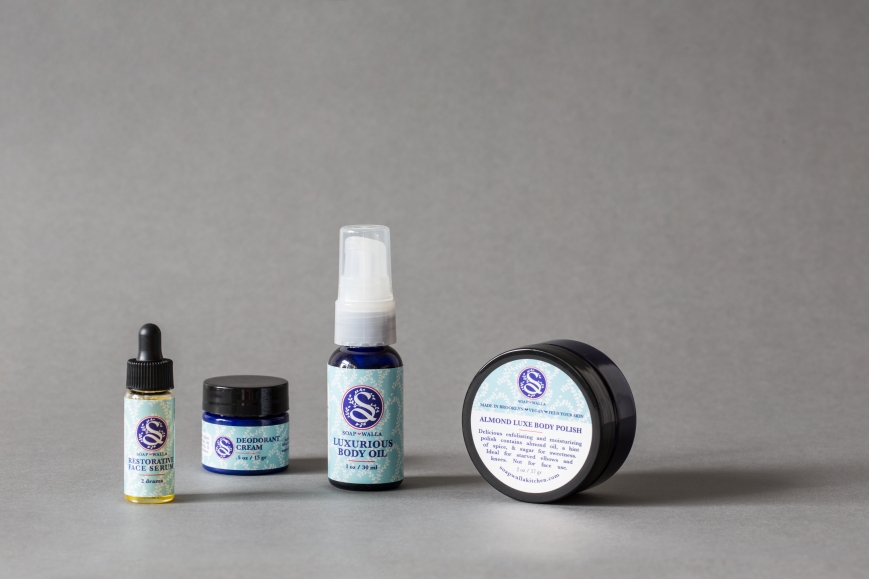 Closeup of products Soapwalla travel kit